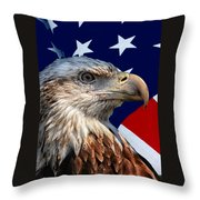 Eagle With Us American Flag Throw Pillow