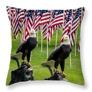 Eagles And Flags On Memorial Day Throw Pillow