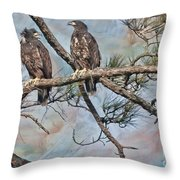 Eaglets In Oil Throw Pillow