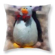 Ear Muff Penguin Photo Art Throw Pillow