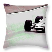 Early 60's Fun In A Formula 1 Race Throw Pillow