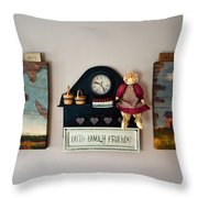 Early American Collage Throw Pillow