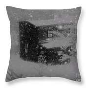 Early Blizzard At The Old Homestead Throw Pillow