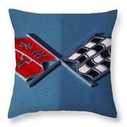 Early C3 Corvette Emblem Blue Throw Pillow