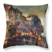 Early Evening In Main Street Nyack Throw Pillow