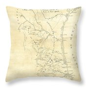 Early Hand-drawn Southern Texas Map C. 1795 Throw Pillow
