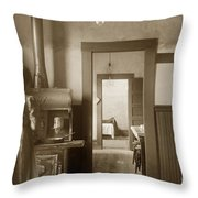Early Kitchen With A Wood Kitchen Stove Circa 1906 Throw Pillow