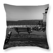 Early Morning At Bug Lighthouse Bw Throw Pillow