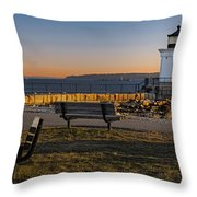 Early Morning At Bug Lighthouse Throw Pillow