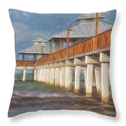 Early Morning At Fort Myers Beach Throw Pillow