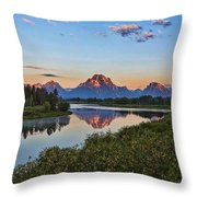 Early Morning At Oxbow Bend Throw Pillow