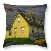 Early Morning At Peggys Cove In Nova Scotia Canada Throw Pillow