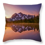 Early Morning At Picture Lake Throw Pillow