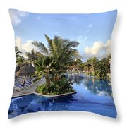 Early Morning At The Pool Throw Pillow