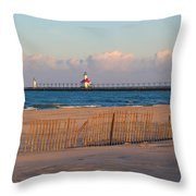 Early Morning Beach And Lighthouse Throw Pillow