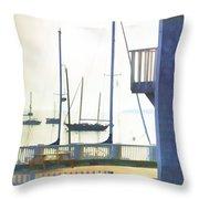 Early Morning Camden Harbor Maine Throw Pillow