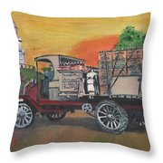 Early Morning Delivery Throw Pillow