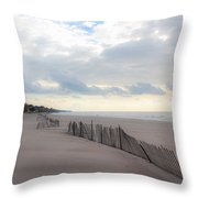 Early Morning Empty Beach Throw Pillow