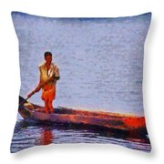 Early Morning Fishing In India Throw Pillow