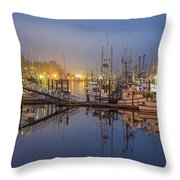 Early Morning Harbor Throw Pillow