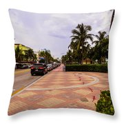 Early Morning In Miami Beach Throw Pillow