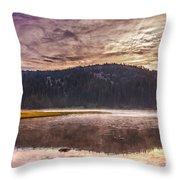 Early Morning Lake Light Throw Pillow by Robert Bales