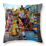 Early Morning Main Street With Mickey Walt Disney World 3 Panel Composite Throw Pillow