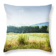 Early Morning Mist In The Valleys And Farmlands Of The Blue Ridge Mountains Throw Pillow