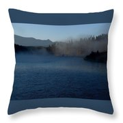 Early Morning Mist On A Lake Throw Pillow