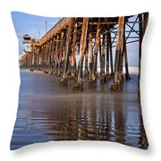 Early Morning Pier Throw Pillow by Julianne Bradford