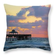 Early Morning Pier Throw Pillow