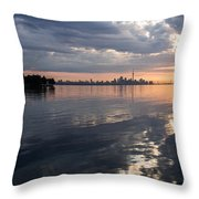 Early Morning Reflections - Lake Ontario And Downtown Toronto Skyline  Throw Pillow