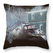 Early Morning Snow Plow Throw Pillow