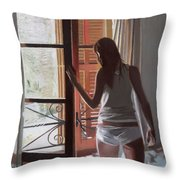 Early Morning Villa Mallorca Throw Pillow by Gillian Furlong