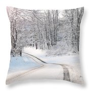 Early Morning Winter Road Throw Pillow