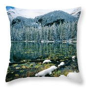 Early Snow At Nymph Lake Throw Pillow