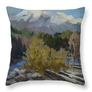 Early Snow Cascade Mountains Throw Pillow