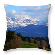 Early Snow In The Swiss Mountains Throw Pillow