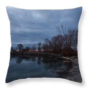 Early Still And Transparent - On The Shores Of Lake Ontario In Toronto Throw Pillow