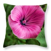 Early Summer Blooms Impressions - Bright Pink Malva - Vertical View Throw Pillow