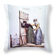 Early Victorian Peeping Women Throw Pillow