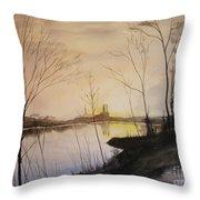 Early Winter Riverside Throw Pillow