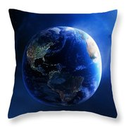 Earth And Galaxy With City Lights Throw Pillow