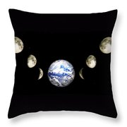 Earth And Phases Of The Moon Throw Pillow