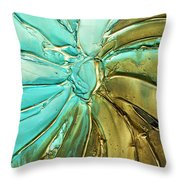 Aqua Teal Brown Organic Abstract Art Throw Pillow