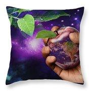 Earth Apple Throw Pillow