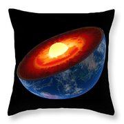 Earth Core Structure To Scale - Isolated Throw Pillow by Johan Swanepoel