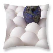 Earth Egg Pollution Throw Pillow