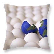 Earth Egg Torn Apart Throw Pillow