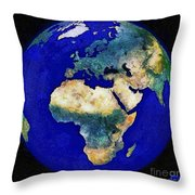 Earth From Space Europe And Africa Throw Pillow